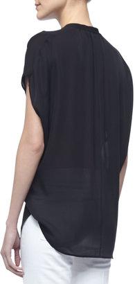 Vince Cap-Sleeve Silk Popover Blouse, Black
