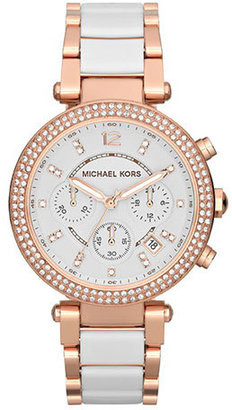 Michael Kors Mid-Size Rose Golden Stainless Steel Parker Chronograph Glitz Watch $295 thestylecure.com