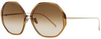 Linda Farrow Luxe Alona Brown Hexagon-frame Sunglasses