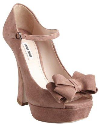 Miu Miu Rose Suede Bow Detail Curved Heel Platforms