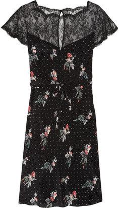 Valentino Lace detail crepe de chine dress