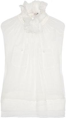 Nina Ricci Ruffled silk-chiffon blouse