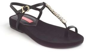 Isaac Mizrahi NEW YORK Twist Embellished Leather Sandals