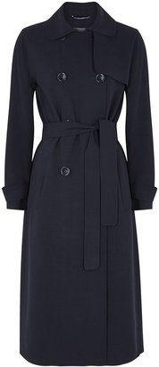 S Max Mara 'S Max Mara Navy Stretch-wool Trench Coat