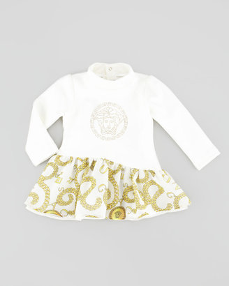 Versace Long-Sleeve Chain-Print Dress, Ivory, 12-24 Months