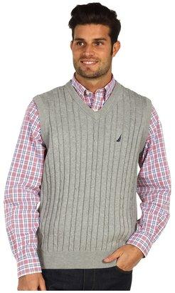 Nautica V-Neck Cable Sweater Vest (Grey Heather) - Apparel