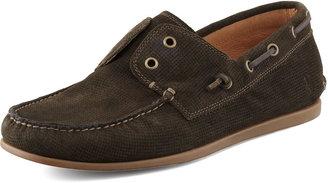John Varvatos Schooner Leather Boat Shoe, Gray