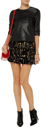 Alice + Olivia Desiree damask-velvet mini skirt