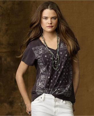 Denim & Supply Ralph Lauren Top, Short-Sleeve Bandana-Print Jersey Tee