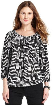MICHAEL Michael Kors Top, Long-Sleeve Zebra-Print Blouse