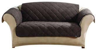Sure Fit Sherpa/Soft Suede Love Throw-Chocolate/Cream