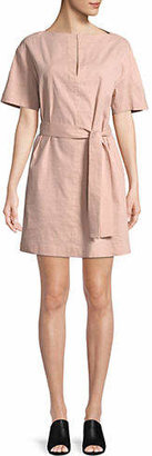 Theory Boat Neck Belted Shift Dress