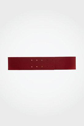 Diane von Furstenberg Jill Leather Belt In Lipstick Red