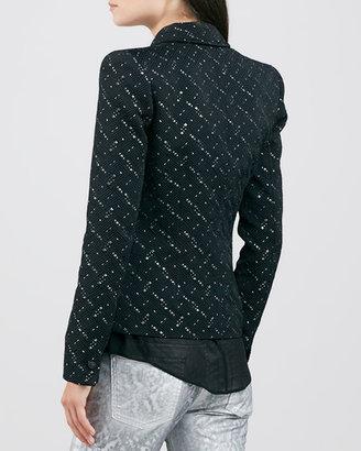 Faith Connexion Woven Blazer Jacket, Black