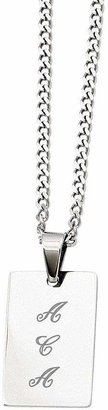 """Steel By Design Steel by Design Polished Engravable Pendant w/24"""" Chain"""