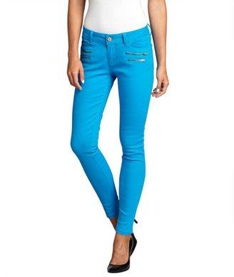 Romeo & Juliet Couture blue jewel stretch denim zip skinny jeans