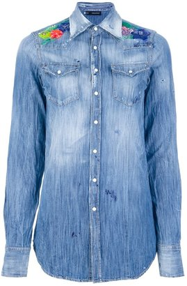 DSquared Dsquared2 embroidered denim shirt