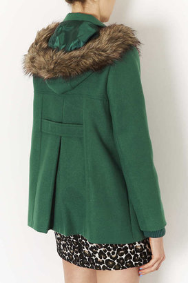 Topshop Fur Hooded Swing Coat