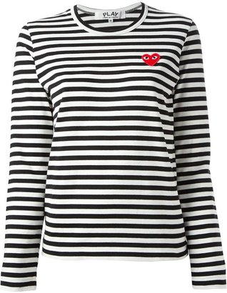 Comme Des Garçons Play embroidered heart striped T-shirt $165 thestylecure.com