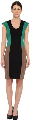 Rachel Roy Color Block Dress (Emerald/Black/Nomadic Beige) - Apparel