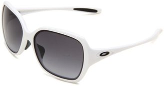 Oakley Womens Overtime OO9210-04 Round Sunglasses,Polished White Frame/Black Grey Gradient Lens,one size