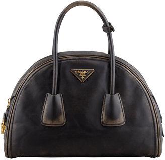 Prada Vintage Vitello Bowler Bag, Black (Nero)