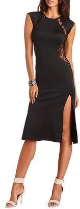 Charlotte Russe Lace Detail Body-Con Midi Dress
