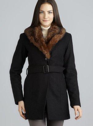 Buffalo Noella Faux Fur Trim Collar Belted Coat