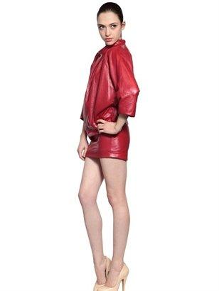Draped Short Lamb Leather Dress