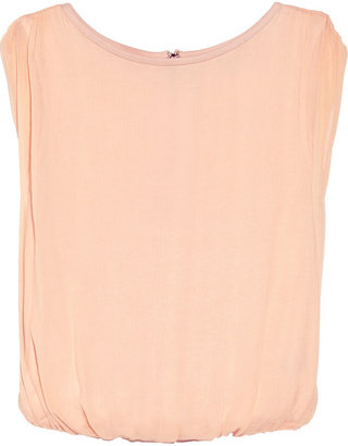 Alice + Olivia Leather-trimmed crinkled silk-chiffon top
