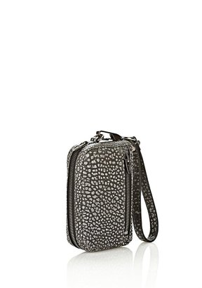 Alexander Wang Fumo Large Wristlet In Pebbled Black & White With Black Nickel