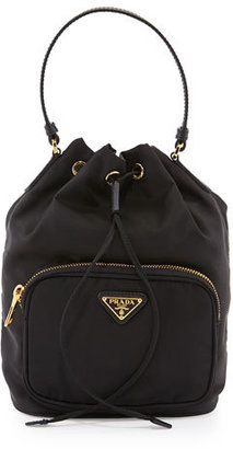 Prada Tessuto Mini Bucket Crossbody Bag, Black (Nero) $545 thestylecure.com