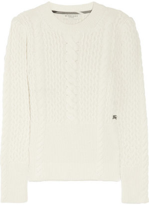 Burberry Cable-knit wool and cashmere-blend sweater