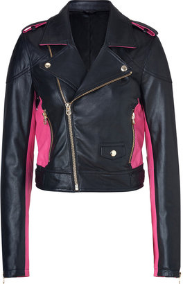 Juicy Couture Pitch Black/Magenta Leather Moto Jacket