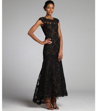 Marchesa black silk lace cap sleeve gown