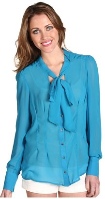 Patterson J. Kincaid Freesia Tie Neck Blouse (Blue Jewel) - Apparel
