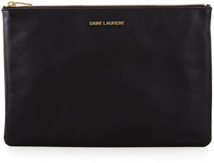 Saint Laurent Letters Medium Zip Clutch Bag, Black