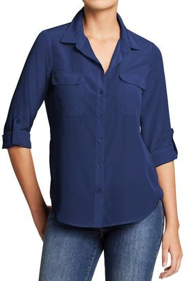 Old Navy Women's Button-Front Crepe Blouses