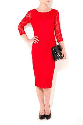 Wallis Red Lace Midi Dress