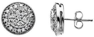 Lord & Taylor 14 Kt. White Gold Diamond Pavé Disc Earrings
