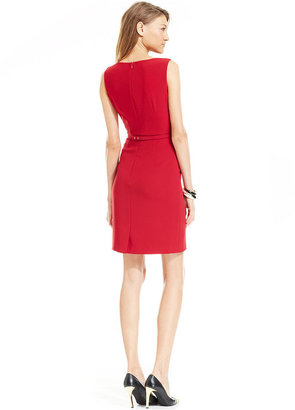 Ivanka Trump Dress, Sleeveless Belted Pleat Sheath