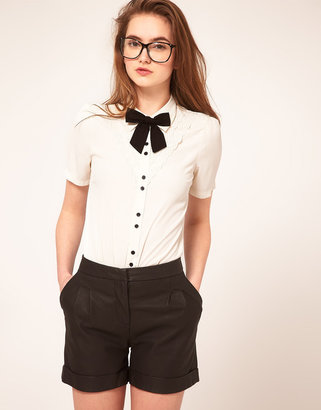 Asos Blouse With Broderie Anglaise And Bow