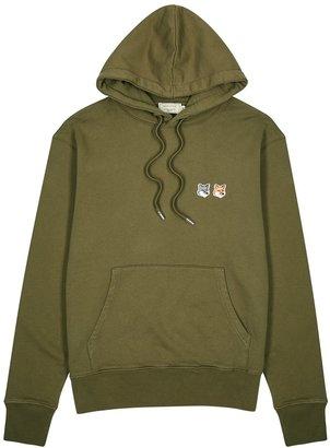 MAISON KITSUNÉ Olive Hooded Cotton Sweatshirt