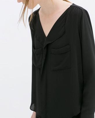 Zara V-Neck Blouse