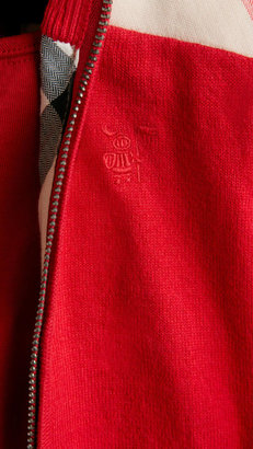 Burberry Check Panel Cotton Cardigan
