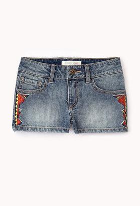 Forever 21 girls Southwestern Denim Shorts