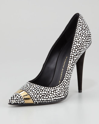 Giuseppe Zanotti Ester Crystallized Pointy-Toe Pump, Black
