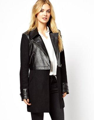 Vila Wool & Leather Look Coat - Black