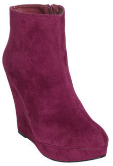 Wet Seal WetSeal Faux Suede Wedge Bootie Berry
