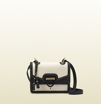 Gucci Derby Canvas Shoulder Bag With Black Leather Trim